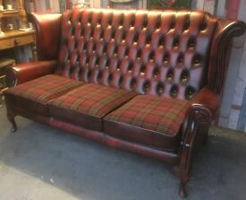 Stunning Chesterfield 3 Seater Sofa Queen Anne Wing Back Oxblood Red Leather - UK Delivery