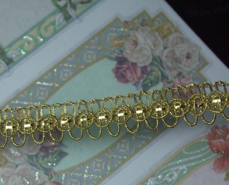 ANTIQUE VTG WEIGHTY SMALL GOLD METAL LOOP RIBBONWORK BRAID LACE TRIM DOLL DRESS