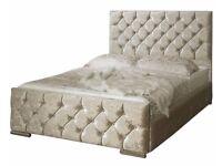 PREMIUM QUALITY BIG SALE IN UK BRAND New Double/King Crush Velvet Diamond Chesterfield Bed +Mattress