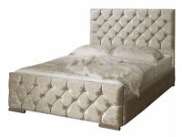 """►❤Contemporary Design❤►Diamond Crushed Velvet Chesterfield Bed -Single Double King- """"OPT MATTRESSES"""