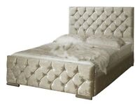 BEST SELLING BRAND= Brand New Double / King Crushed Velvet Chesterfield Bed -Black silver mink