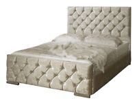 same day delivery Double Crushed Velvet Fabric Upholstered Chesterfield Style bed frame and Mattress