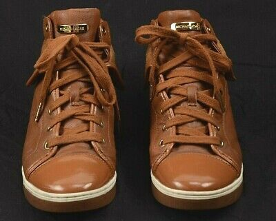 Michael Kors Leather/Suede Caramel Fold Over High Top Sneaker Women's Size 8M