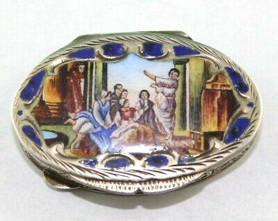 ANTIQUE ITALIAN 800 SILVER ENAMELED  CAPPINI & CO? GOLD GILT PILL BOX