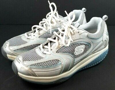 Skechers Shape Ups Womens size 10 Grey - Silver and Blue Trim