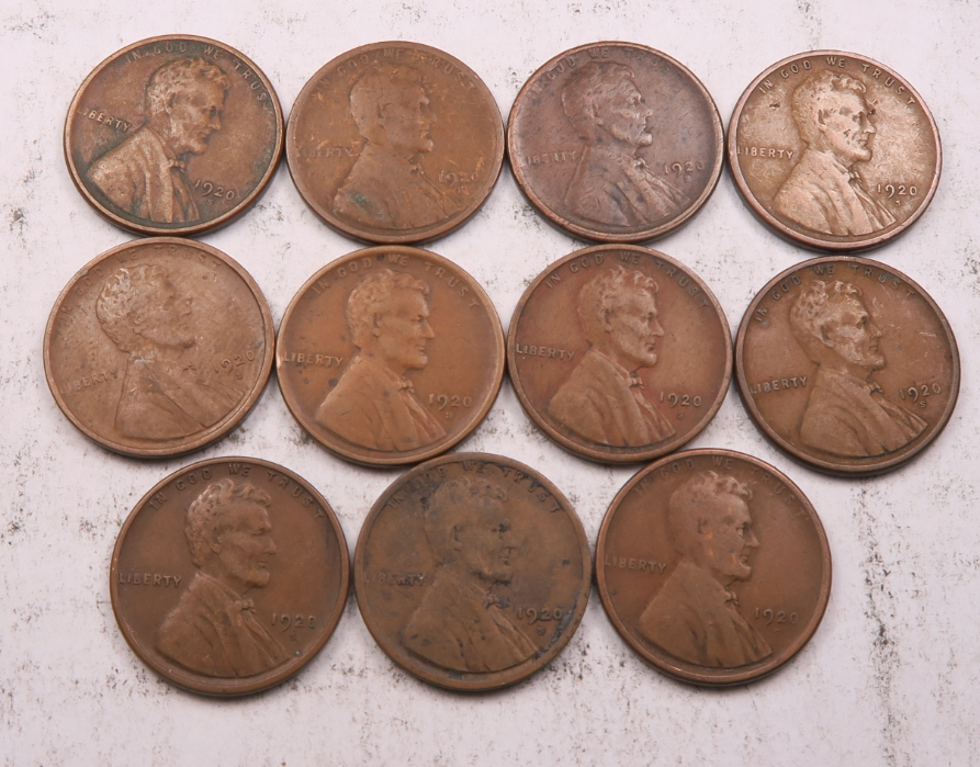 11 1920-S Lincoln Wheat Penny Cent Set-Lot // Fine-VF // 11 Coins WL125  - $0.99