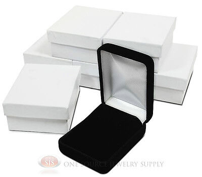 6 Piece Black Velvet Necklace Earrings Jewelry Gift Boxes 2 14 X 3 X 1 14h
