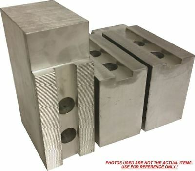 """TG-12408P STEEL SOFT JAWS FOR TONGUE /& GROOVE 12/"""" CHUCK W//A 4/"""" HT 3 PC SET"""