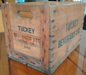 Antique Vintage Wooden Wood Crate Tuckey Beverages