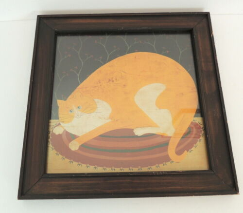 Wood Framed Cat Art Print Made In Mexico Primitive Folk Art Kitty