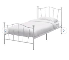 Brand new white metal single bed frame