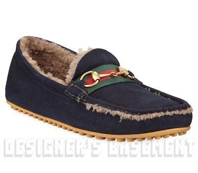 7249d19b35d GUCCI men 8G  blue Suede FUR lined Web KANYE drivers shoes NIB Authentic   760!
