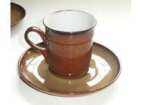 Denby 5 Coffee Cups, 5 Saucers and 1 Jug. Unused
