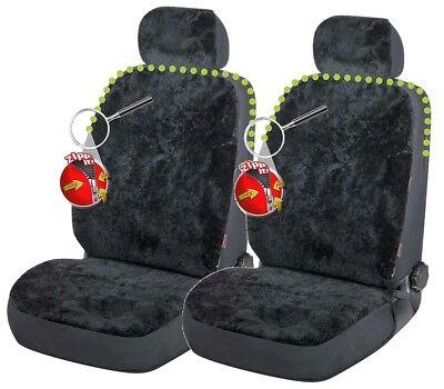 2 Stück Reißverschluss Lammfell Autositzfelle+Kopfstütze schwarz, ZIPP IT System - Lammfell Reißverschluss Vorne