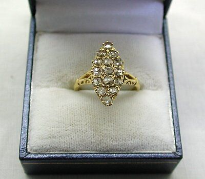 Beautiful Early Victorian 15ct Gold Rose Cut Diamond Set Marquise Shaped Ring