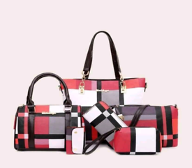 6 piece Pink Checked Bag Set £38 + postage