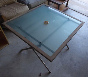 Foldable sqaure patio table with glass top Kitchener / Waterloo Kitchener Area image 1