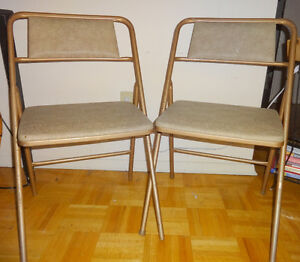 2 ORIGINAL LABELLED METAL COSCO FOLDING CHAIRS / Retro Decor / MIDCENTURY MCM / Made in USA / Vtg 1960s Original paint