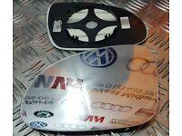 VW Golf Mk5 2003 -2009 Left Passenger side Clip on heated wing door mirror glass