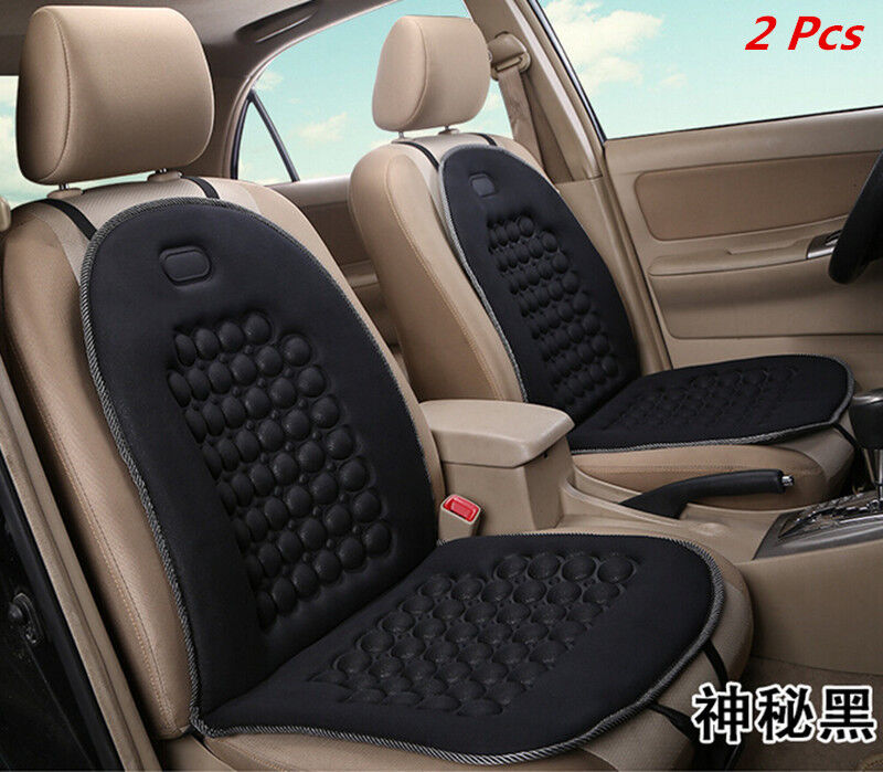 2x Car Foam Seat Padded Cushion Massage Therapy Beads Universal Pad Cover Black