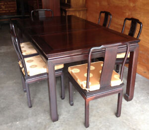 Gorgeous Oriental Style Rose Wood Table And 6 Chairs