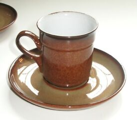 Denby 5 Coffee Cups, 5 Saucers and 1 Jug. Unused Condition