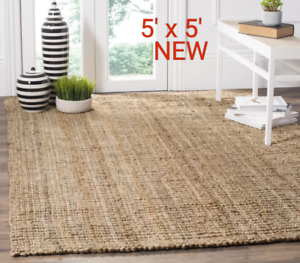 Natural Jute 5' x 5' Area rug /NEW