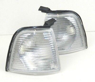 AUDI 80 B3 B4 1986-1996 PAIR FRONT INDICATOR REPEATER LIGHT LENS LAMP SET CLEAR