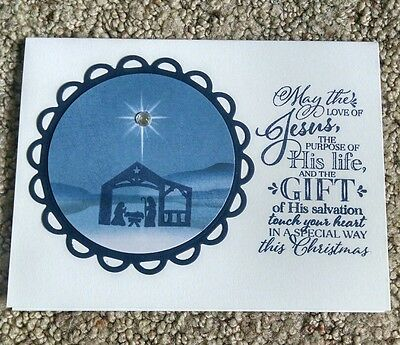 Handmade Christmas Card Kit-Stampin' Up/Papertrey night of navy/white/Nativity