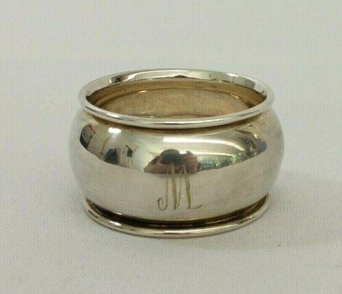 Antique 1919 Sterling Silver W.H. Haseler Monogramed M Plain Napkin Ring