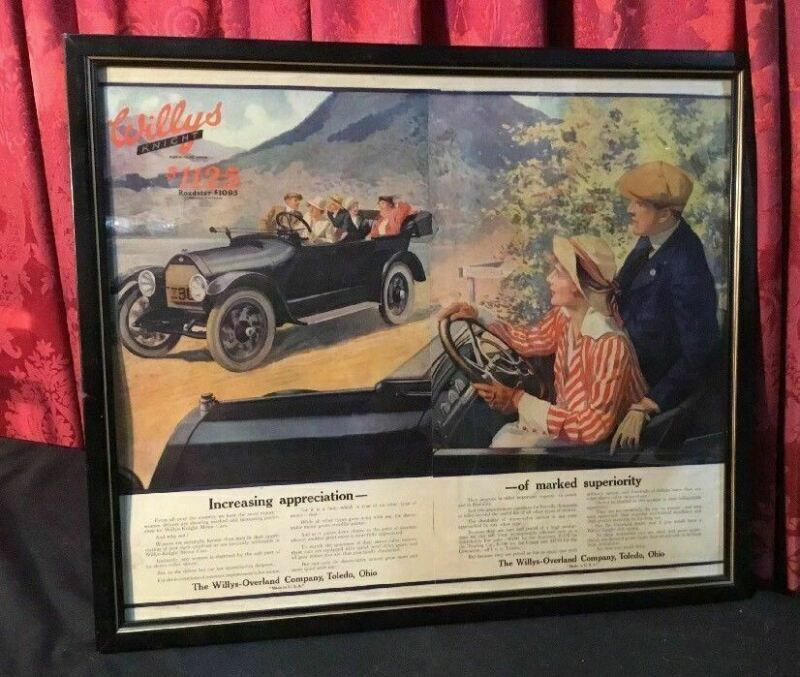 VINTAGE ANTIQUE CAR AUTO MAN CAVE ADVERTISING WILLYS OVERLAND KNIGHT ROADSTER