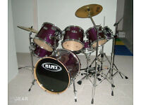 Mapex M Series Birch drum kit, purple, 7 pieces + accessories and cymbals