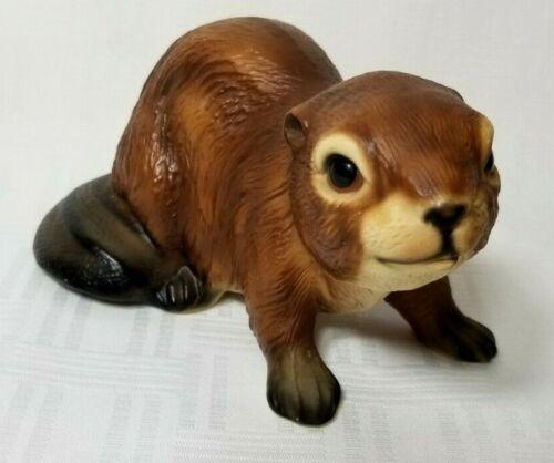 "Vintage BEAVER Ceramic Collectible Figurine 5"" River Rat Wildlife"