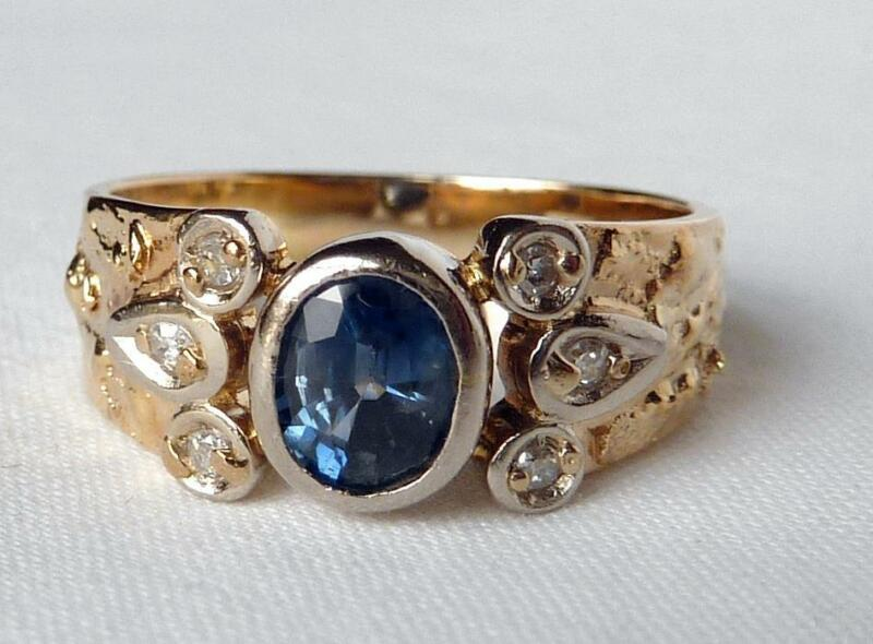 Vintage 14k Gold Cornflower Blue Natural Sapphire+Diamond Handmade Ring Sz 6.5