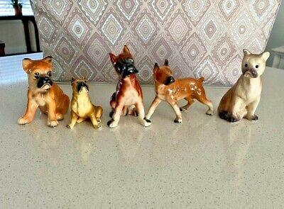 5 Vintage Porcelain or Ceramic Boxer Dog Figurines
