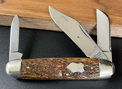 EARLY JOHN PRIMBLE INDIA STEEL WORKS JIGGED BONE CATTLE STOCKMAN POCKET KNIFE