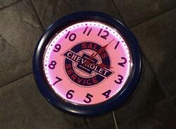 VINTAGE Neon Chevrolet Clock RARE Sales Service