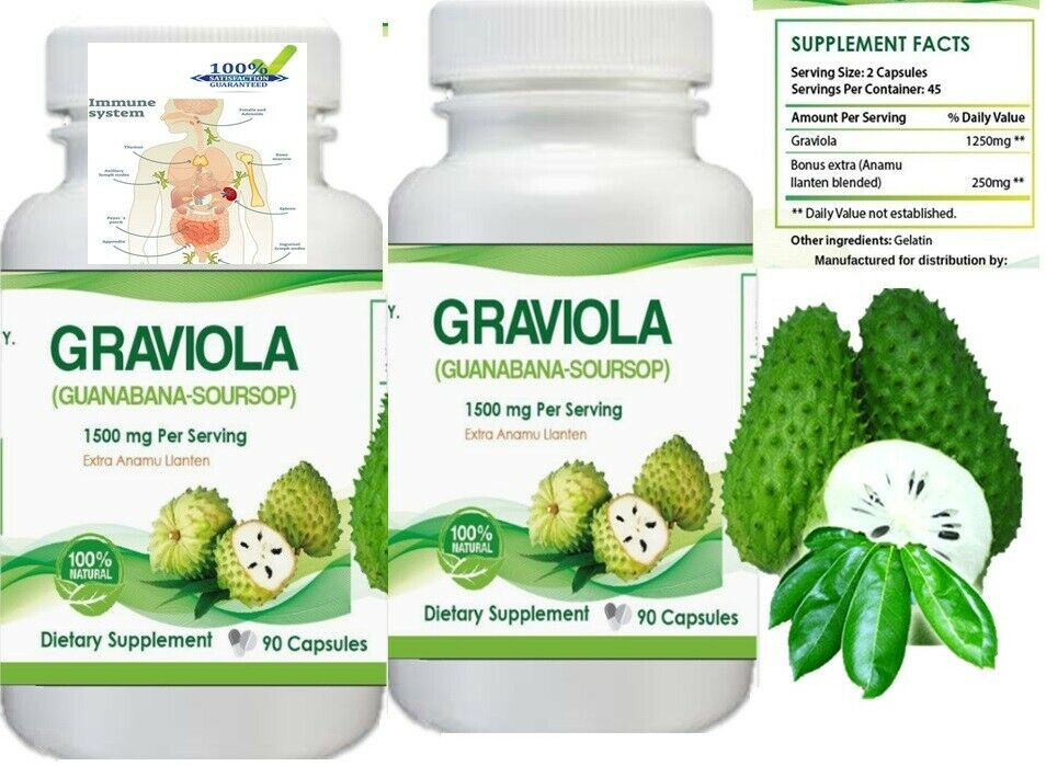 #1 BEST GRAVIOLA SOURSOP 1000mg IMMUNE SYSTEM ANTIOXIDANT SUPPLEMENT PILLS 180ct