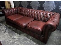 Shabby Chic Vintage Chesterfield 3 Seater Sofa in Oxblood Red Leather - UK Delivery