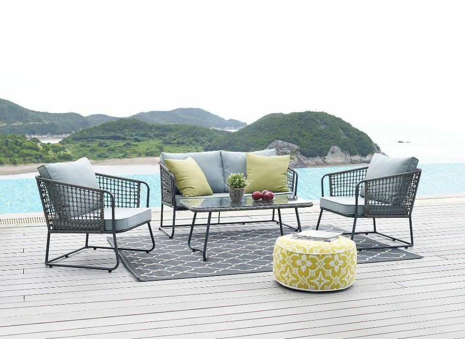 Garden Furniture - Grey 4 piece Lounge Set Furniture Garden Metal Outdoor Conservatory Table Chair