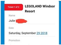 2x legoland tickets saturday 29/09/2018 £20 each