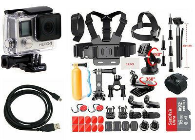 GoPro HERO4 Black Edition Camera Camcorder + 40 Piece Sports Accessory Kit
