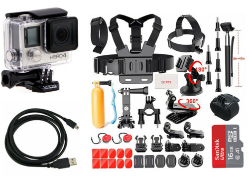 GoPro HERO4 Black Edition Camera Camcorder + 40 Piece Sports Accessory Kit