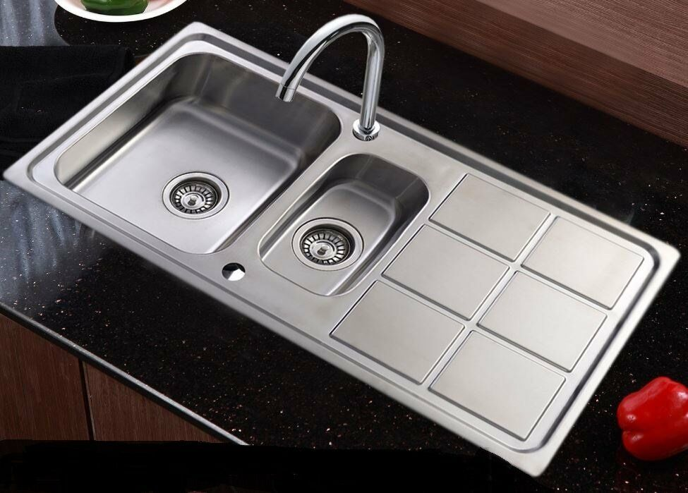 double bowl 15l stainless steel kitchen sink drainer waste kit uk new in - Kitchen Sink Uk