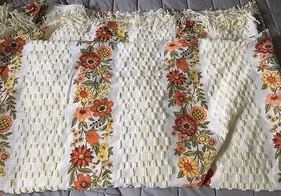 Vintage  Mod Floral chenille Bedspread  with fringe  Yellow Gold & Olive Green