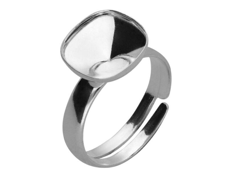 Silver adjustable ring base for swarovski square cushion 4470 10 mm P9