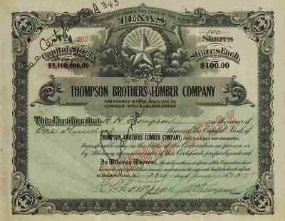 Thompson Brothers Lumber Co. 1917 Houston Texas Wilard Douchette Hoxie Thompson