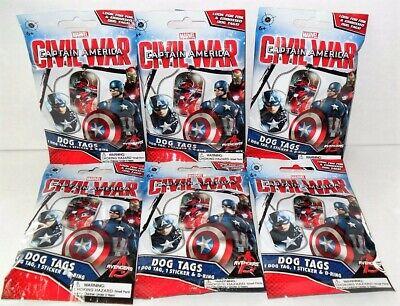 Dog Captain America (MARVEL CAPTAIN AMERICA CIVIL WAR DOG TAGS LOT OF (6) NEW)