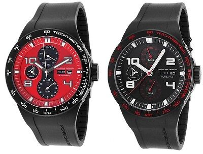 Porsche Design Men's Flat Six Automatic Chronograph - Choice of Black/Red Dial