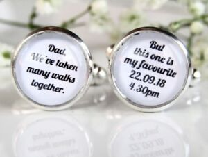 Many Walks Quote Personalised Dad Father Of The Bride Wedding Cufflinks Gift
